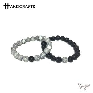 Natural Stone and Lava Bead Yin Yang Bracelets